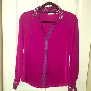 Silky magenta slim fit printed collar shirt